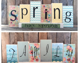 Decorative Wood Block Sign - Spring/Family Reversible