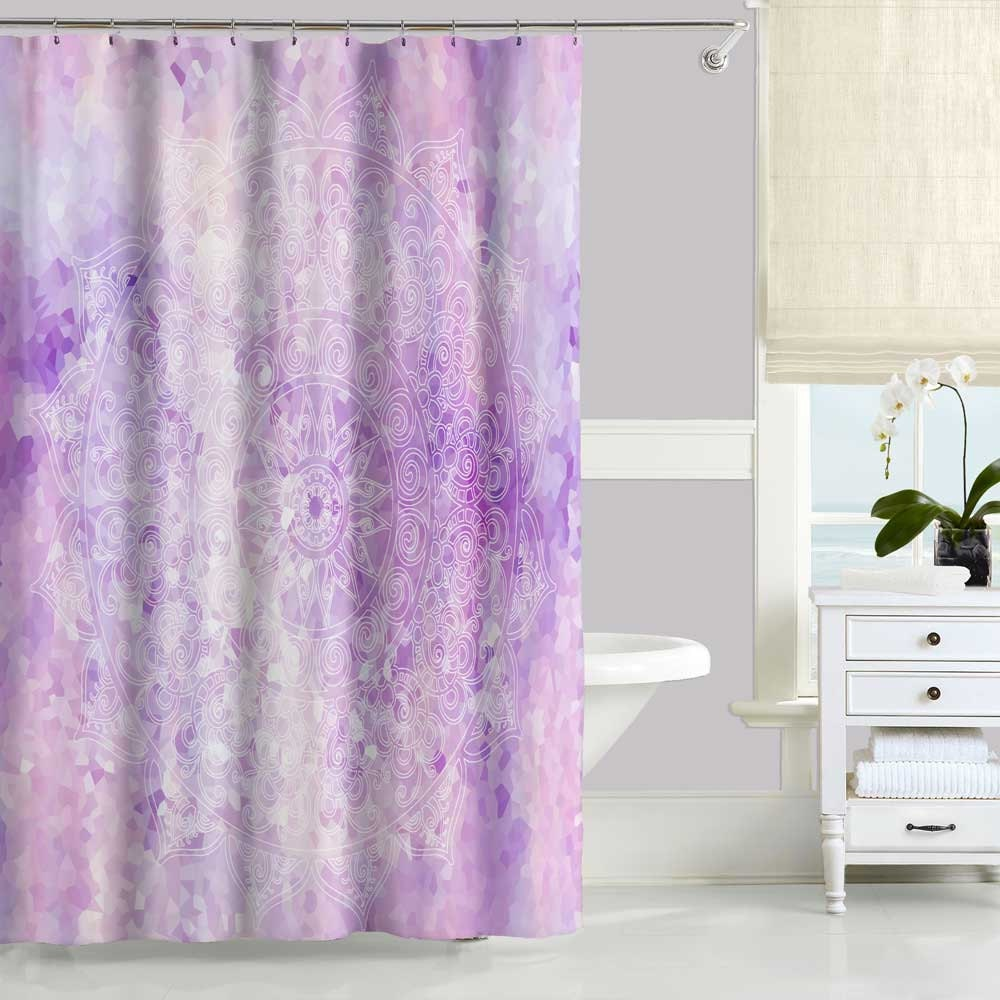 Purple Shower Curtain Lavender Pink Mandala Shower Curtain