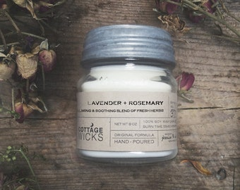 Lavender + Rosemary Scented Soy Candles Artisanal Small Batch Hand Poured Made in New England Soy Candle