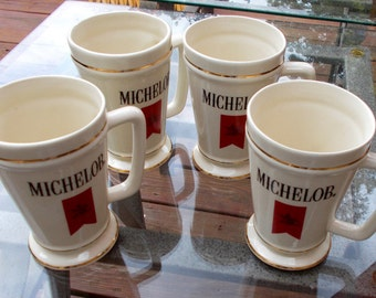 Vintage Set of Four Michelob Beer Steins, Mugs, Ceramic