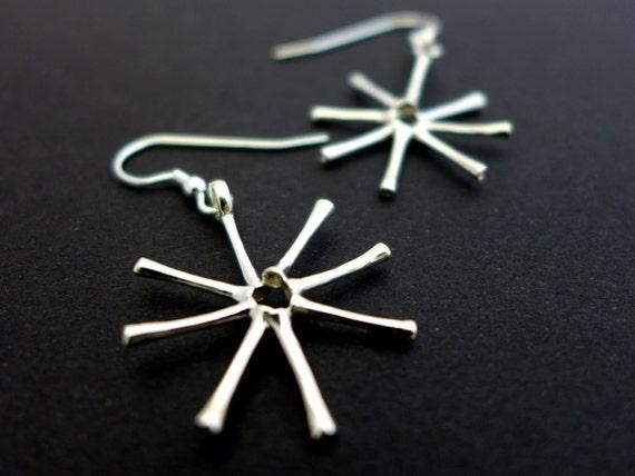Aquatic Biology-Freshwater Diatom Asterionella Earrings-Science Jewelry in bronze, brass & silver