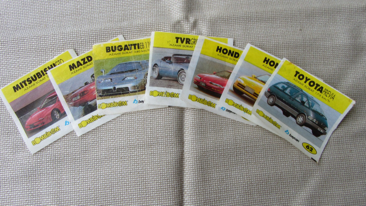 "Vintage Gum Wrappers with Cars pictures, BomBimBom old wrappers, vintage ""bycan"""