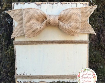 Choose your color! 4x6 Rustic Frame, Distressed Wood Frame, Horizontal, Burlap Bow, Rustic Photo Frame