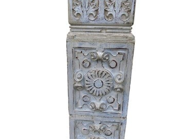 Vintage Architectural Element Shabby Painted Pediment Carved Salvage Element Farmhouse Distressed Accent