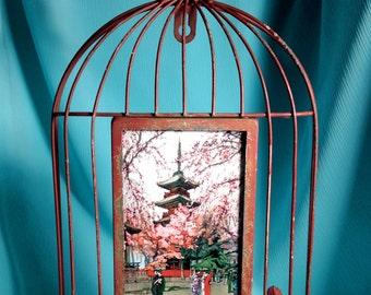 Japanese Print in Red Bird Cage Frame- Cherry Blossom Garden
