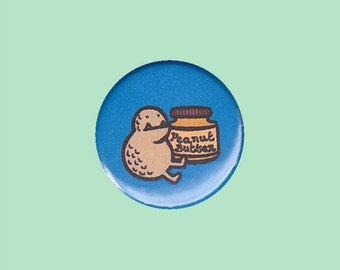 Peanut Butter Monster Badge - peanut badge, cute monster badge, peanut butter pin