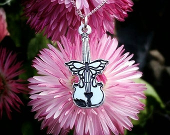 Sterling Silver Butterfly Violin Necklace / Pendant