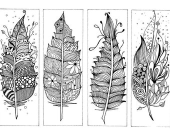 Book Marks Zentangle Inspired, Hand drawn Colouring Page