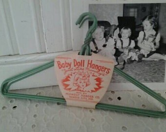 Vintage Green Baby Doll Hangers