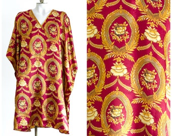 Silky caftan cover up in burgundy and gold