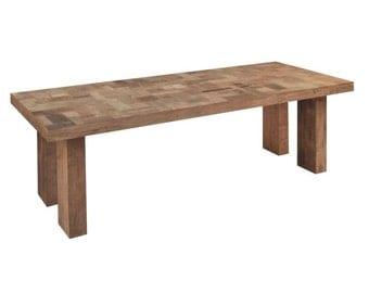 Large Butchers Block Recycled Teak Rectangular Dining Table - 700499. Statement piece! Designer.