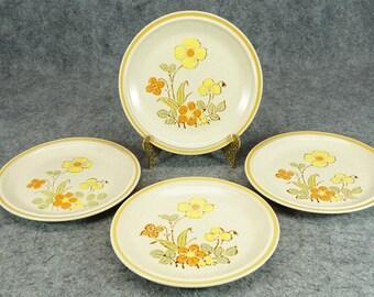 "Hearthside Stoneware Garden Festival Sunshine Flowers 7 5/8"" Salad Plates x 4"