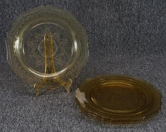 """Federal Glass Patrician-Amber 4 Depressed Glass Dinner Plates 11"""""""