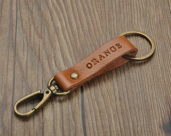 personalized brown leather keychain,genuine leather keyring,leather key fob,leather key holder gift for men,gift for her