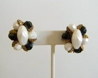 Black & White Beaded Clip Earrings