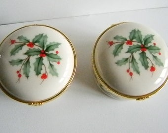 LENOX Holiday Christmas Holly Berry Berries Trinket Ring Box Storage