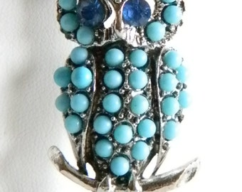 Silver Tone Turquoise Color Blue Rhinestones Owl Pin Brooch