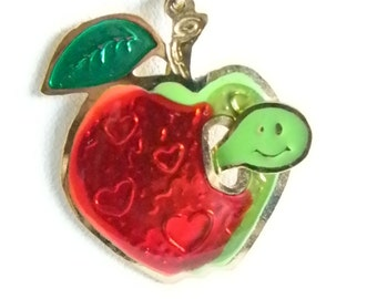 Green Red Enamel Apple With Worm Pendant Necklace