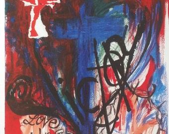 Christian art print mixed media street art contemporary abstract painting