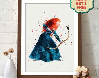 Pixar Disney Brave - Princess Merida Watercolor Poster