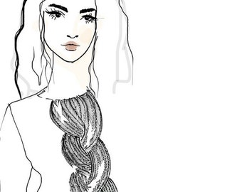 Digital download iPhone 5s & iPhone 6s  Digital Wallpaper - fashion illustration