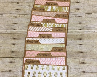 Recipe Card Dividers, 3x5, 4x6, Pink & Gold, Pineapple
