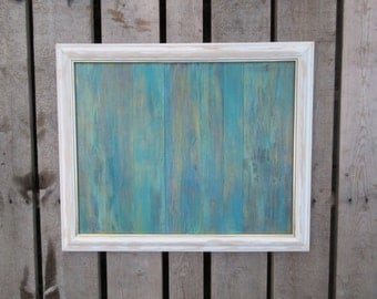 Reclaimed Wood Wall Art, Turquoise, Blue, Acrylic Abstract Painting
