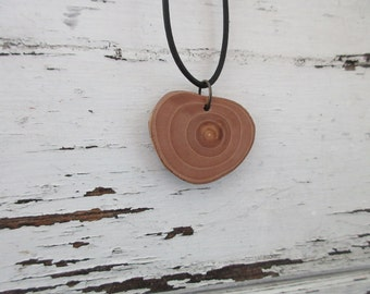 Apple Wood Necklace, Wooden Pendant, Eco Necklace, Nature Lover