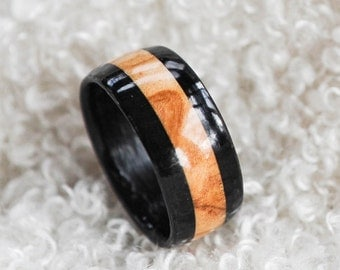 Size 12.5 - Wood Ring - Hybrid Ebony and Olive Wood Ring | Mens Wood Wedding Band | Wooden Rings | Anniversary Gift | Gift For Him