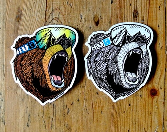 Bear Vinyl Sticker Pack, Snowboard Sticker, Adventure Sticker, Mountain Sticker, Helmet Sticker, Laptop Sticker, Car Sticker, Vinyl Decal
