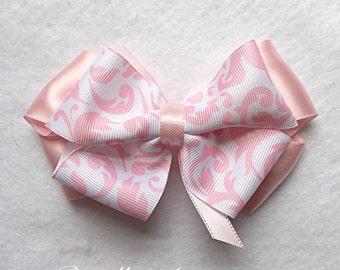Light Pink Hair Bow, 4 Inch Bow, Pink Hair Clip, Hair Accessories, Damask Hair Bow, Satin Hair Bow, Baby Bow, Girls Hair Bow, Toddler Bows