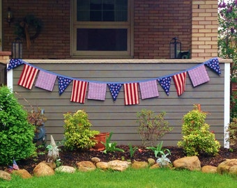 Americana Porch Bunting, Patriotic Fabric Bunting, Military Homecoming, Patriotic Gazebo Decor,Reversible Porch Bunting, Military Wedding