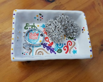 Hand painted whimsical jewelry dish