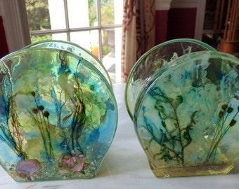 Lucite Acrylic Napkin Holders Sea Shells Plants - Set of 2