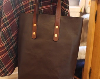 Brown Leather Tote Bag - Raw Top....handmade in UK  (E6)
