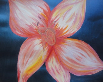 Acrylic and watercolour series small Ramin in flower