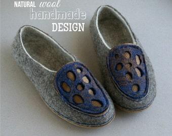 Felted wool shoes, felt home shoes, woolen clogs, women slippers, handmade shoes - Women loafers