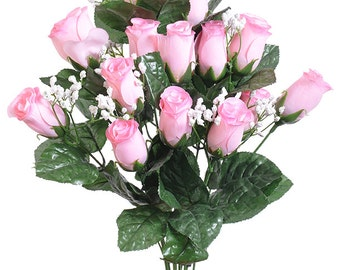 "New Artificial Pink Rose Bud Bush 18"" in length, 14 Pink Rose Buds 2"" long x 1.5"""