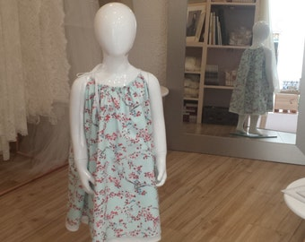 Dress bridesmaid printed cotton cherry blossom, knotting at the shoulder.