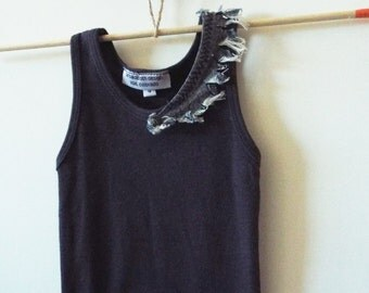 Girls Navy Embellished Tank with Chambray Trim Detail