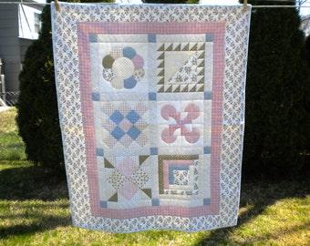 Baby Quilt - Pastels & Ruffles Girl Baby Quilt - #BQ-013