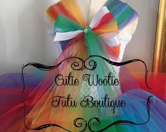My Little Pony (MLP) Rainbow Dash inspired tutu dress ~ KNEE LENGTH
