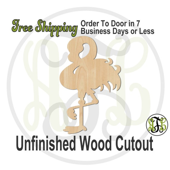 Flamingo - 230043- Bird Cutout, unfinished, wood cutout, wood craft, laser cut shape, wood cut out, Door Hanger, Spanish Town Parade, wooden