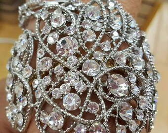 New Bridal Swirl Cluster Design  Clear CZ Crystal Stunning Bracelet- Adjustable sizing
