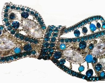 New Art Deco Silver Bow With Aquamarine Crystal & Rhinestone 3 1/2'' Hair Barrette