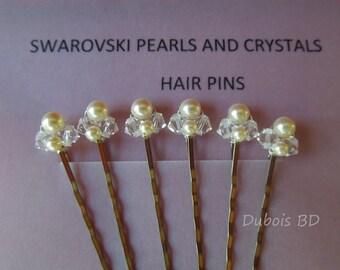 Bridal pearls and crystals hair pins, Swarovski pearls and crystals hair pins, bridal hairpiece, bridal pearls bobby pins,Set of 6 hair pins