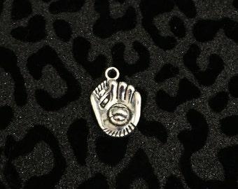 5 Silver Tone Softball / Baseball Glove Charms