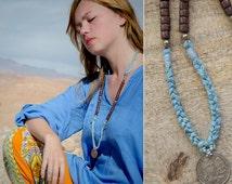 MYSTIC JOURNEY silk necklace with a OM Coin Pendant Ganesha Lakshmi / light blue Sari Silk and Burgundy Salwag / Yoga Necklace Jogi necklace