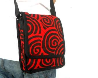 Crossbody Bag Messenger Bag Bohemian Bag Red Black Color Boho Bag Handmade Everyday Bag Purse Hippie Hobo Bag Thai Gift bag