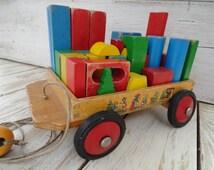 Heros Wooden Wagon & Blocks Pull-along Wagon Wooden Blocks Fairy Tale Decals Building Blocks Pull Toy Pull Along Blocks Cart Stacking Blocks